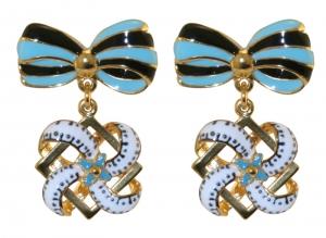 Blue Bow Motifs Earrings