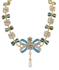 Blue Bow Reproduction Necklace