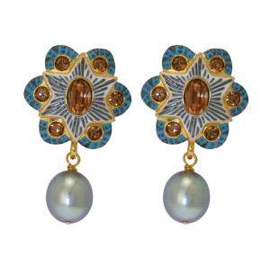 Blue Enamelled Bow Earrings