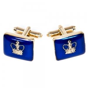 Blue Enamelled Crown Cufflinks