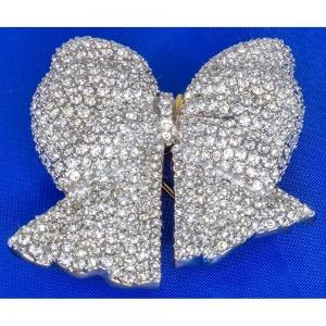Bow Clear Crystal Brooch
