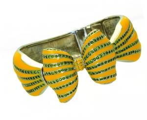 Bow Yellow Enamel and Crystal Bangle