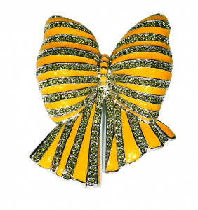 Bow Yellow Enamel and Crystal Brooch