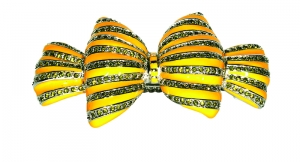 Bow Yellow Enamel and Crystal Hair Clip