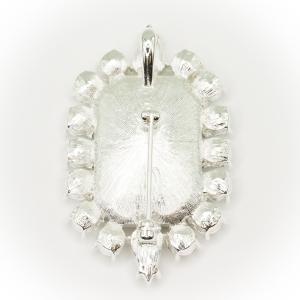 British Crown of India Emerald Crystal Brooch