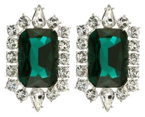 British Crown of India Emerald Crystal Clip On Earrings