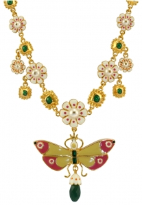 Butterfly Floral Enamel Necklace