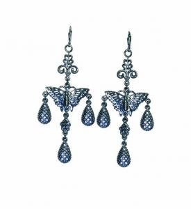Butterfly Three-Droplet Earrings
