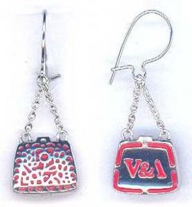 Chatelaine Bag Earrings Silver