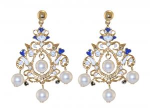 Floral Pearl Enamel Chandelier Earrings
