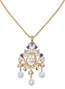 Floral Pearl Enamel Chandelier Pendant