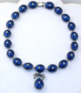 French Blue Jewelled Necklace