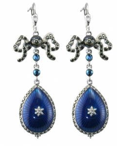 French Blue jewelled Earrings