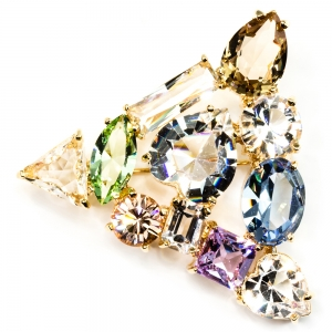 Gems Crystal Brooch Large