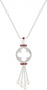 Gothic Quatrefoil Garnet Necklace