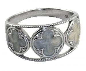 Gothic Quatrefoil Pearl Enamel Ring