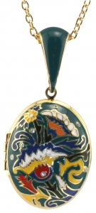 Green Enamel Floral Locket Pendant