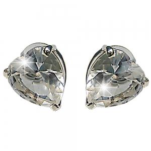 Heart Rhodium Plated Earrings