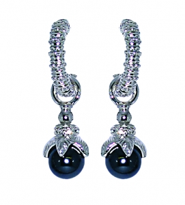 Hooped Earrings with Grey Faux Pearls