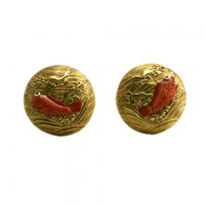 Japanese Inro Fish Clip Earrings