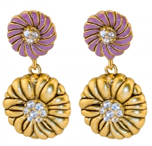 Japanese Inro Flower Ball Earrings