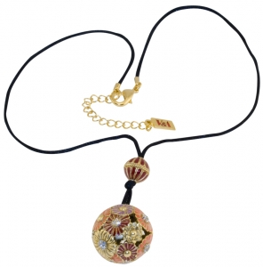 Japanese Inro Flower ball pendant with cord
