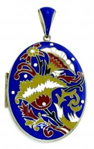 Large Blue Enamel Floral Locket Pendant