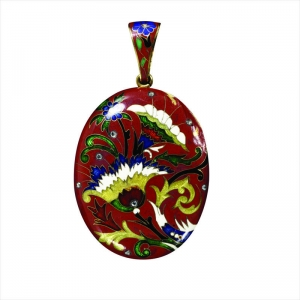 Large Red Enamel Floral Locket Pendant