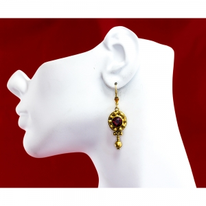 Lombardy Earrings (Red Siam Stone)