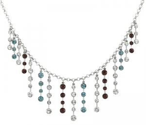 Multi-Coloured Crystal Fringe Tiara Necklace