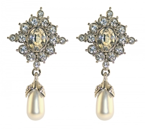 Princess Diana Crystal and Pearl Earrings