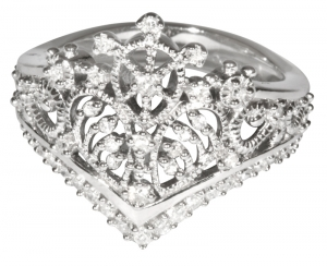Princess Tiara Collection Ring 3 - Sterling Silver with Diamonds or CZ