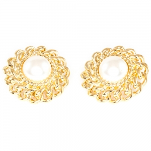 Rope and Faux Pearl Clip On Earrings