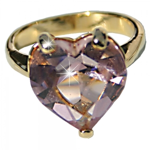 Rose Heart Gold Plated Ring- Small
