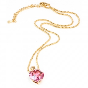 Rose Heart Pendant on Chain - pink