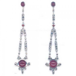 Silver Art Deco Cornelian Earrings
