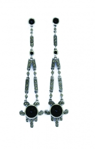Silver Art Deco Earrings with Black Onyx