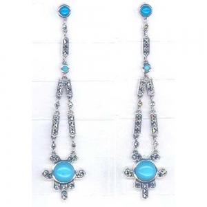 Silver Art Deco Turquoise Earrings