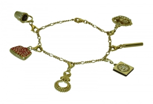 Silver Chatelaine Charm Bracelet Gold Plated