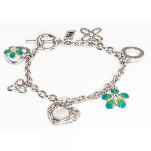 Silver Heart & Flower Bracelet