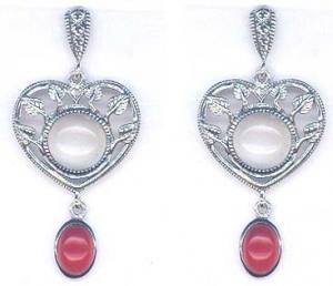 Silver Heart & Flower Earrings