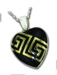Silver Heart Locket Gold-Plated Black Enamel