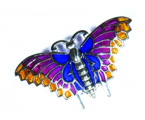 Silver purple transparent enamel Butterfly Brooch