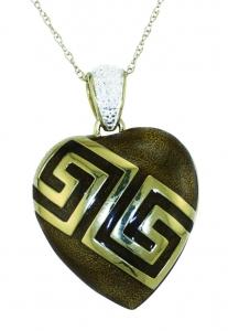 Sliver Heart Locket Gold-Plated Brown Enamel
