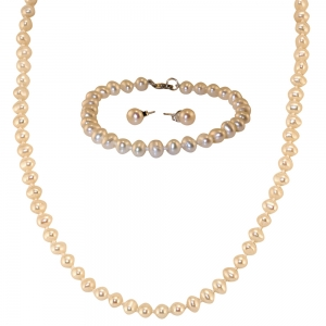 Small Pearl Necklace, Bracelet and Single Pearl Earring
