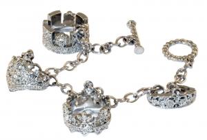 Tiara Four Charm Silver toned Bracelet
