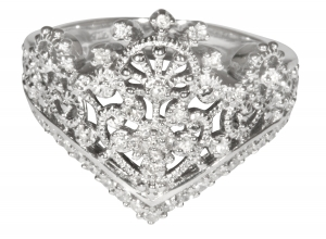 Princess Tiara Collection Ring 1 Sterling Silver with Diamonds or CZ