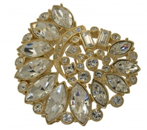 Treasures of the Earth Crystal Gold Plated Brooch