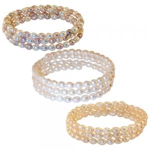 White Rice Pearl Coil Bracelet