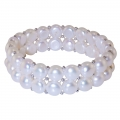 2 Row Flat White Pearl and Silver Bracelet
